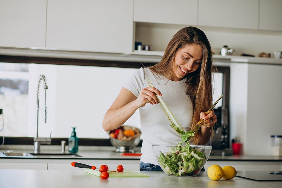 Young woman salad