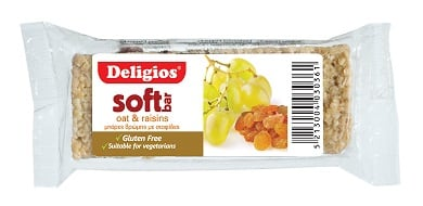 Deligios Soft Bar Oat Raisin χωρίς γλουτένη 60 gr