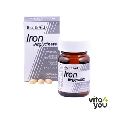 Health Aid Iron Bisglycinate (Iron with Vitamin C) 30 tabs