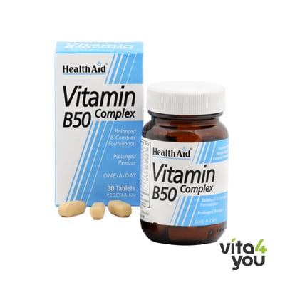 Health Aid Vitamin B50 Complex prolonged release 30 tabs