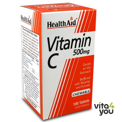 Health Aid Vitamin C 500 mg 100 chewable tabs orange