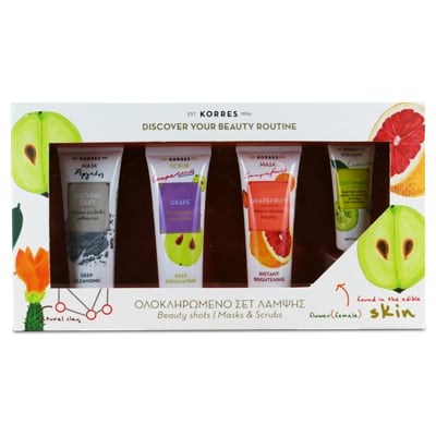 Korres Ολοκληρωμένο Σετ Λάμψης Cleansing Mask Clay 18 ml & Scrub Grape 18 ml & Brightening Mask Grapefruit 18 ml & Eye Mask Cucumber 8 ml