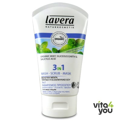 Lavera 3 in 1 Wash Scrub Mask  Organic Mint, Siliceous Earth & Salicylic Acid 125 ml