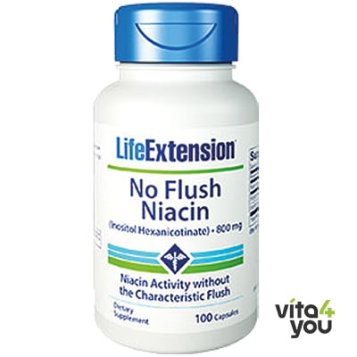 Life Extension No Flush Niacin inositol hexanicotinate 800 mg 100 caps