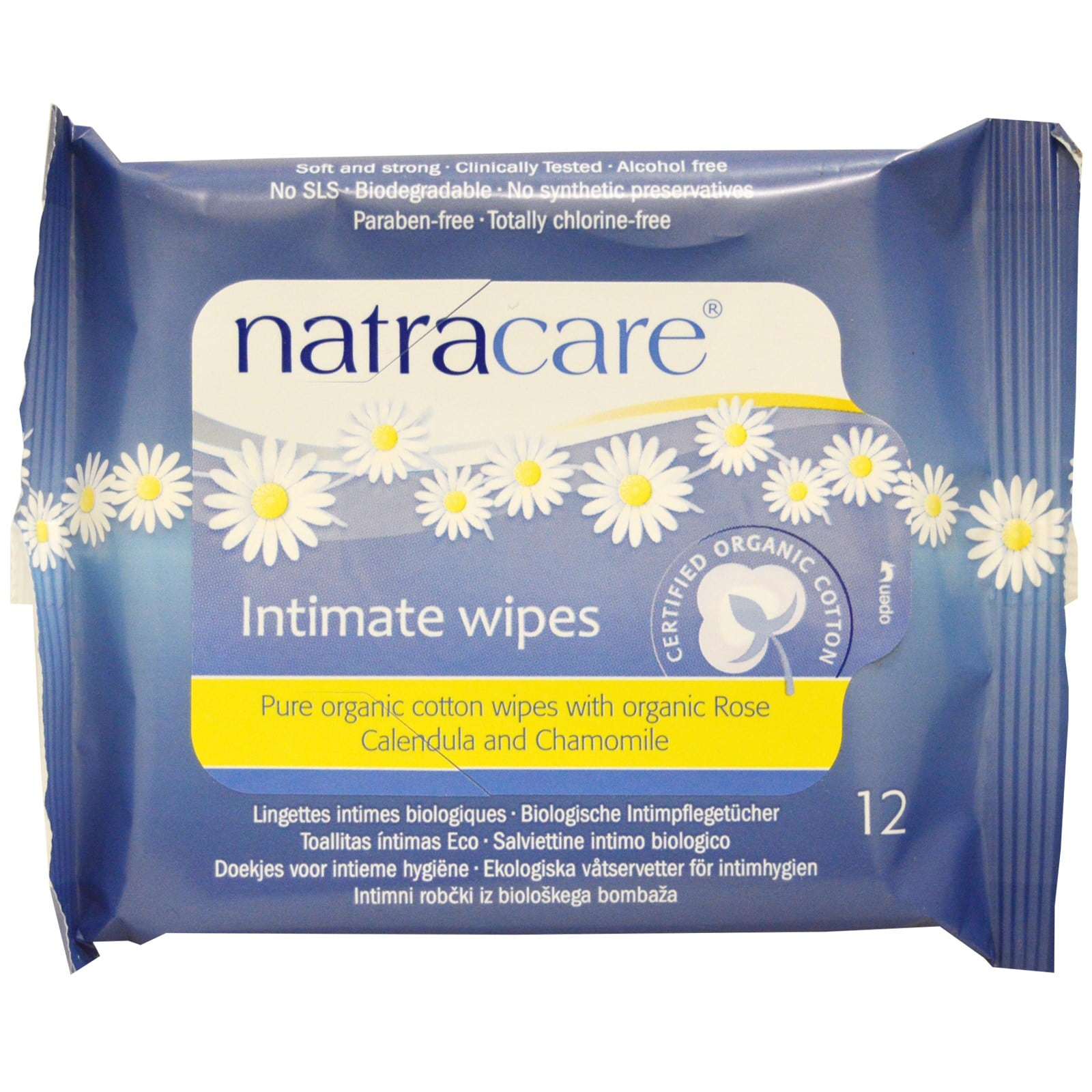 Natracare Organic Cotton Intimate Wipes 12 pcs