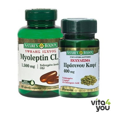 Nature's Bounty Myoleptin CLA 1500 mg 60 softgels & Δώρο Green Coffee 400 mg 30 caps
