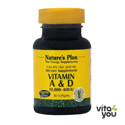 Nature's Plus Vitamins A & D3 10000/400 IU  90 softgels