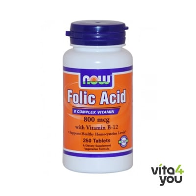 Now Folic Acid 800 mcg & B-12 25 mcg 250 tabs