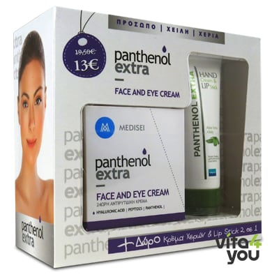 Panthenol Extra Face & Eye Antiwrinkle 24h Cream 50 ml & Lip Hand Stick Aloe 25 ml