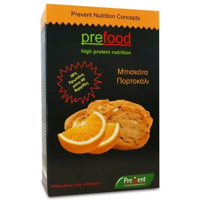 Prevent Prefood High Protein Μπισκότα Πορτοκάλι 4 X 25 gr