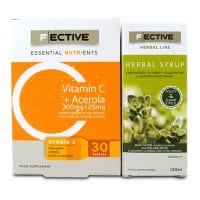 F Ective Vitamin C Acerola Zinc 30 tabs & Herbal Syrup Adults Sugar Free 100 ml