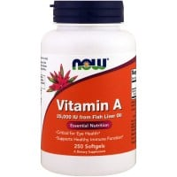 Now Vitamin A 25000 IU from Fish Liver Oil 250 softgels