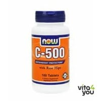 Now Vitamin C 500 with Rose hips & Bioflanoids 100 tabs