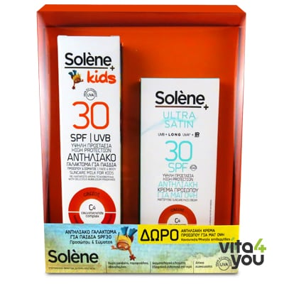 Solene Suncare Kids SPF30 150 ml & Ultra Satin face cream SPF30 nornal mixed skin 50 ml