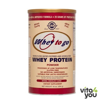 Solgar Whey To Go Protein chocolate powder 454 gr