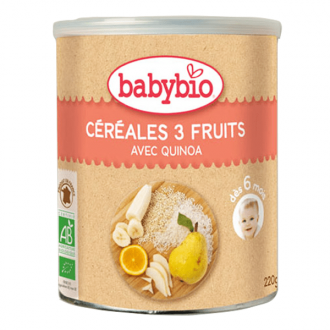 Babybio Organic Cereal 3 Fruits Rice Quinoa 220 gr