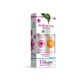 Power Health Echinacea Extra Stevia 24 eff tabs & Δώρο Vitamin C 500 mg 20 eff tabs
