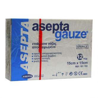 Asepta Gauze sterile 12 pcs 15 x 15 cm