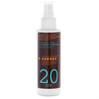 Korres Clear Sunscreen body Walnut & Coconut SPF20 150 ml
