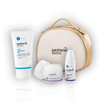 Panthenol Extra Anti-wrinkle face-eye cream 50 ml & Face-eye Serum 30 ml & Cleansing gel 150 ml Golden necessaire