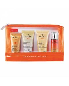 Nuxe Sun Travel Set Creme Visage SPF50 30 ml & Shampooing Douche Apres Soleil 50 ml & Lait Apres Soleil 50 ml & Eau Parfumante 30 ml