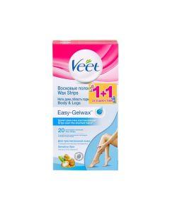 Veet Easy-Gelwax Body & Legs sensitive skin 20 strips 1+1