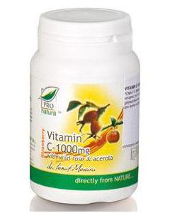 Pro Natura Vitamin C 1000 mg with Wild Rose & Acerola 60 tabs strawberry