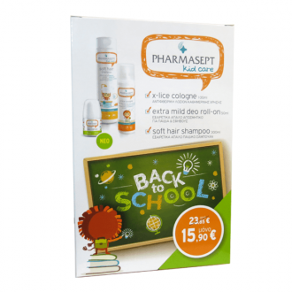 Pharmasept Kid Care Back to School X-lice Cologne 100 ml & Extra Mild Deo Roll-on 50 ml & Soft Hair Shampoo 300 ml