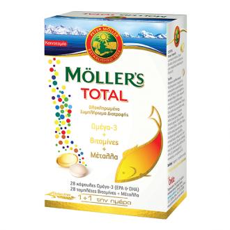 Moller's Total Omega 3 + Vitamins + Minerals 28 caps & 28 tabs