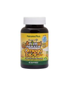 Nature's Plus Animal Parade Omega 3/6/9 Junior 90 lemon flavor softgels