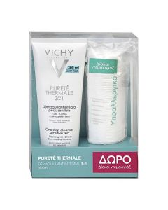Vichy Purete Thermal Lait Demaquillant 3 in 1 300 ml & Free Cotton Pads