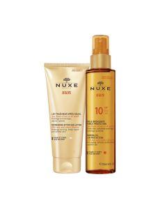 Nuxe Sun Huile Bronzante SPF10 150 ml & Lait Fraicheur Apres- Soleil 100 ml