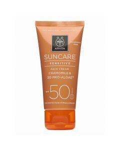 Apivita Suncare Sensitive Face Cream chamomile & 3D pro-algae SPF50 50 ml