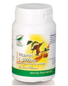 Pro Natura Vitamin C 1000 mg with Wild Rose & Acerola 60 tabs strawberry