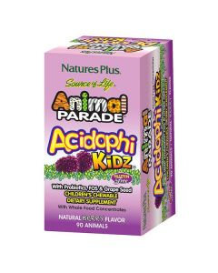 Nature's Plus Animal Parade AcidophiKidz 90 chewable berry flavor animal tabs