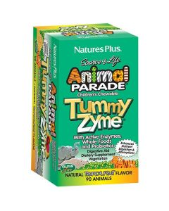 Nature's Plus Animal Parade Tummy Zyme Children's chewable Enzymes Probiotics 90 animals tropical flavour