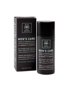 Apivita Men's Care Κρέμα προσώπου-ματιών ρυτίδων κάρδαμο & πρόπολη 50 ml