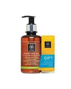 Apivita Purifying Gel λιπαρές-μικτές 200 ml & Δώρο Suncare Oil Balance SPF30 15 ml