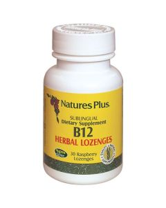 Nature's Plus Vitamin B12 Sublingual Herbal 1000 mcg 30 raspberry lozenges