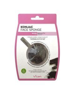 Vican Wise Beauty Konjac Face Sponge Bamboo Charcoal