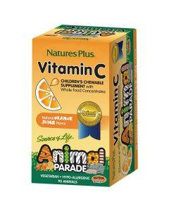 Nature's Plus Animal Parade Vitamin C 90 orange juice flavor animal tabs