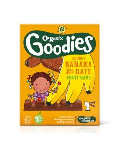 Organix Goodies chunky Banana & Date Fruit Bar 6 x 17 gr