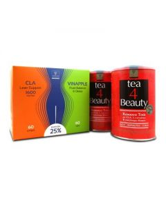 Samcos CLA Lean support 1600 mg 60 softgels & Vinapple Fluid balance Detox 60 caps & Tea 4 Beauty 2 x 200 gr