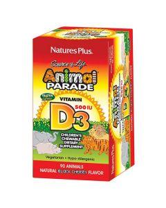 Nature's Plus Animal Parade Vitamin D3 500 IU 90 chewable black cherry animal tabs