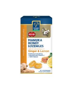 Manuka Health Manuka Honey Lozenges Ginger & Lemon 400+ 15 lozenges