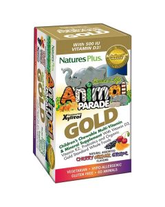 Nature's Plus Animal Parade Gold Assorted Cherry Orange grape 60 animal tabs
