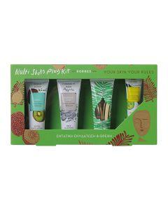 Korres Multi Shots Play Kit Ενυδάτωση Θρέψη Scrub Kiwi 18 ml & Mask Natural Clay 18 ml & Mask Babassu 18 ml & Eye Mask Cucumber 8 ml