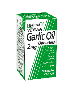 Health Aid Garlic Oil 2 mg (Odourless) Vegan 30 caps