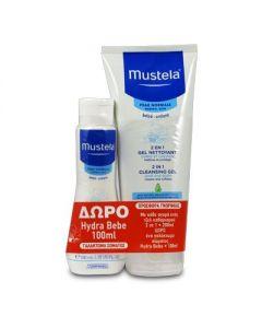Mustela Normal Skin 2 in 1 Cleansing Gel Hair Body 200 ml & Δώρο Hydra Bebe Body Lotion 100 ml