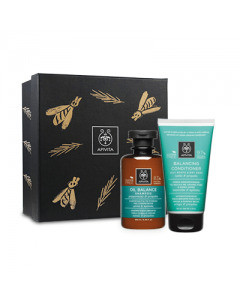 Apivita Gift Set Oily Roots-Dry Ends Shampoo 250 ml & Conditioner 150 ml
